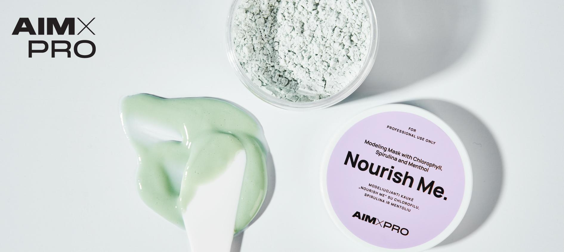 """""""Nourish Me"""" modeliuojanti kaukė su chlorofilu, spirulina ir mentoliu"""