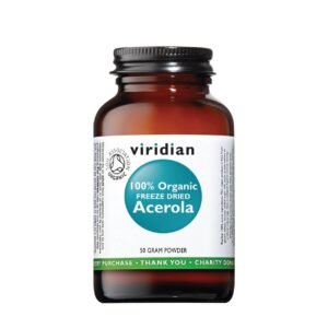 "Maisto papildas ""100% Organic Freeze Dried Acerola"", VIRIDIAN, 50 g"