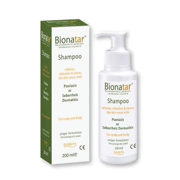 """Šampūnas """"BIONATAR"""" psoriazės ir seborėjinio dermatito požymiams lengvinti"""