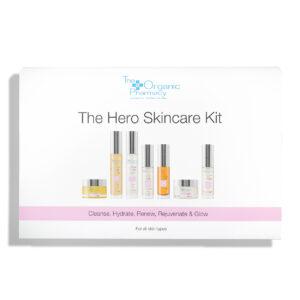 """Kelioninis """"The Organic Pharmacy"""" veido odos priežiūros rinkinys The Hero Skincare Kit"""