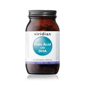 """Maisto papildas """"Folic Acid with DHA"""", Viridian, 90 kaps."""