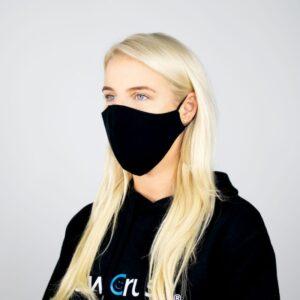 Daugkartinė dvipusė veido kaukė medvilninė (juoda)